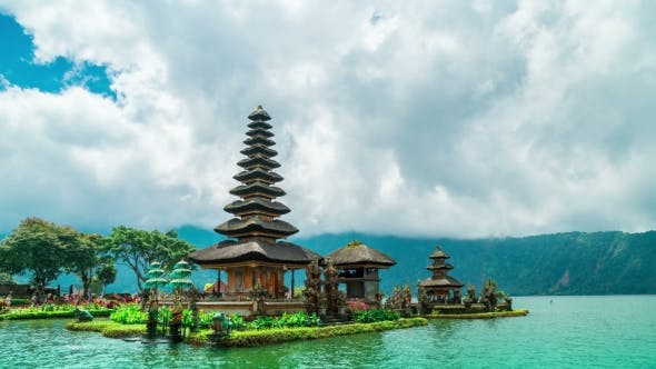 Cover Image for Water Temple at Beratan Lake, Pura Ulun Danu Batur in Bedugul, Bali.