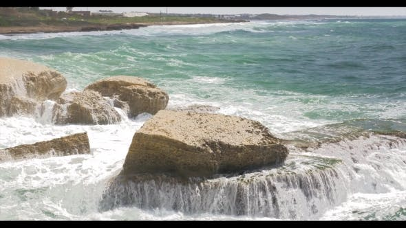 Thumbnail for Rosh Hanikra Coastline and Sea Waves Crushing Rocks