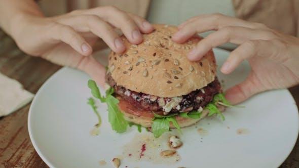 Thumbnail for Tasty Burger in Hands of Girl