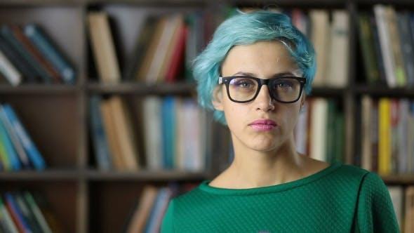 Thumbnail for Portrait of Smiling Hipster Girl in Eyeglasses