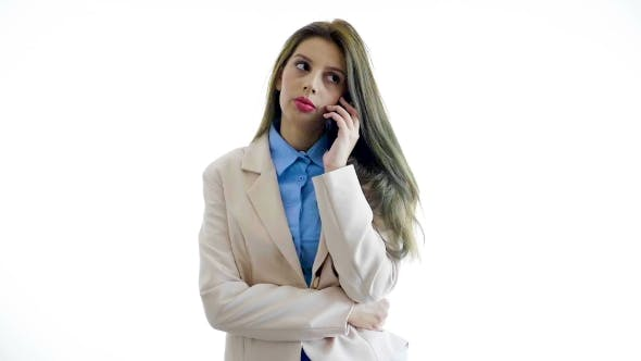 Thumbnail for Young Businesswoman Over White Background Talking on the Phone