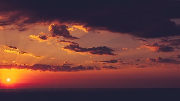 Thumbnail for Beautiful  of Sunrise Over the Sea with Clouds on Sky