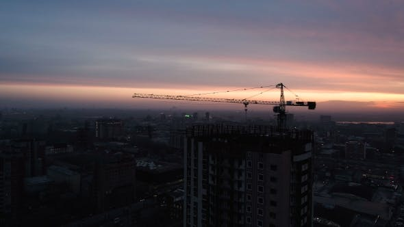 Thumbnail for Aerial Drone Shot of Construction Site of Modern Glass Office Building in City