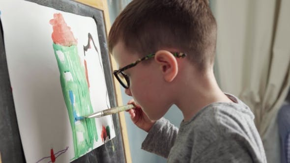 Thumbnail for Cute Little Boy Paints House with Watercolor