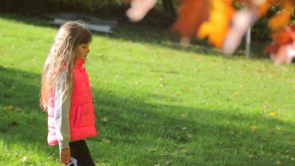 Thumbnail for Little Girl Walking in the Autumn Park. Camera Movement to the Profile Along with the Girl's Step