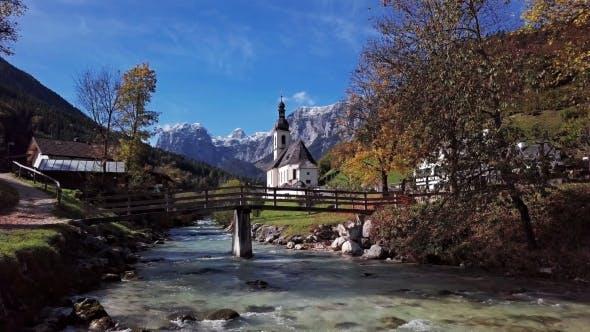 Thumbnail for Flight Over Church in Ramsau, Berchtesgaden, Germany