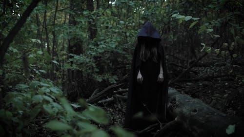 Schreckliche Zauberin steht ohne Bewegung in einem Wald, dann dramatisch heben Sie Ihre Hand