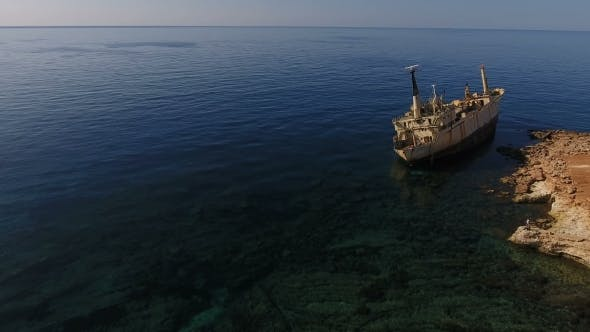 Thumbnail for Old White Ship Near the Seashore in Cyprus