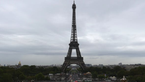Thumbnail for Crowded Champ De Mars and the Eiffel Tower in Paris