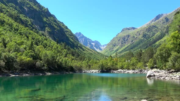 Thumbnail for View lake scenes in mountains, national park Dombai, Caucasus
