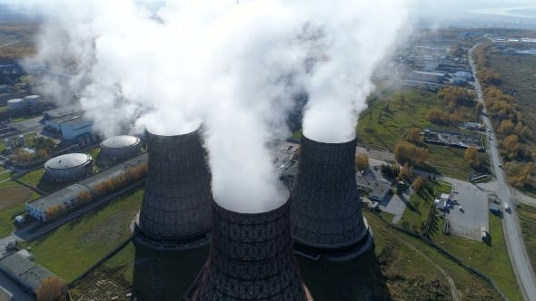 Thumbnail for Aerial View: Smoke From Heavy Industry Factory