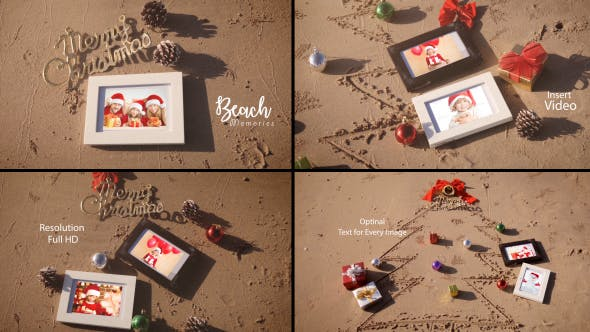 Thumbnail for Christmas Photo Frame On The Beach