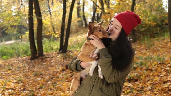 Thumbnail for Tender Scene of Woman with Dog in Autumn Park