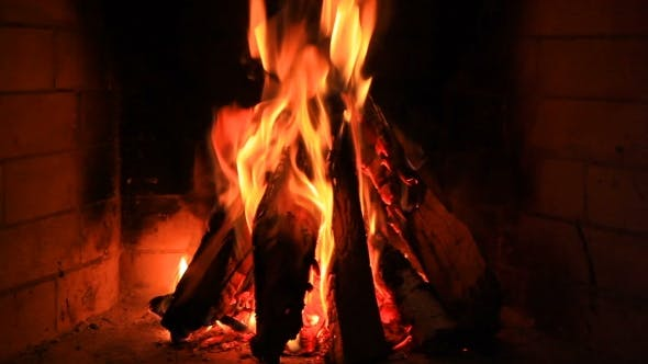 Thumbnail for Hot Fireplace Full of Wood and Fire with the Sound