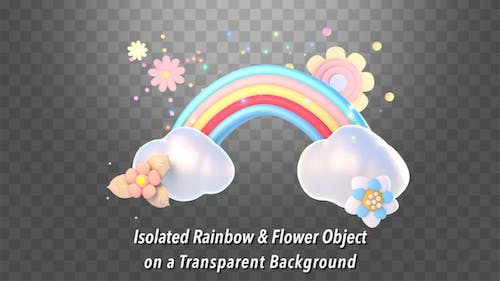 Isolated Rainbow and Flower Object