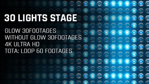 30 Lights Stage Blue Glow 4K Loop Footages/ Cold Award Led Light Stage Backgrounds/ Star Dance Party