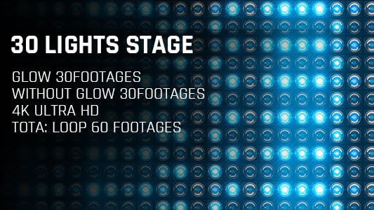 Thumbnail for 30 Lights Stage Blue Glow 4K Loop Footages/ Cold Award Led Light Stage Backgrounds/ Star Dance Party