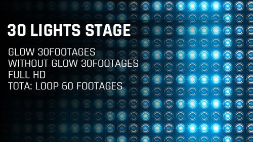 30 Lights Stage Blue Glow Full HD Loop Footages/ Cold Award Led Light Stage Backgrounds/ Dance Party