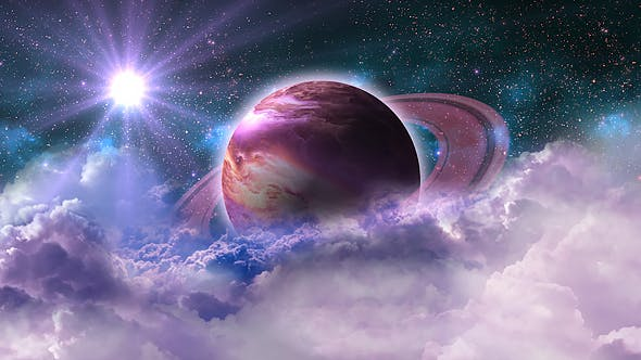 Thumbnail for Flying Through Abstract Purple Clouds in Space and Planet with the Shine Star