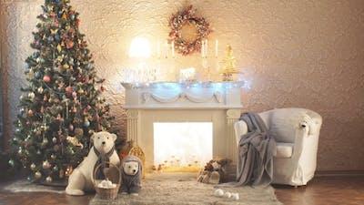 Christmas Room. Christmas Tree By the Fireplace