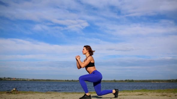 Thumbnail for Runner Woman Stretching Legs with Lunge Hamstring Stretch Exercise Leg Stretches. Fitness Female