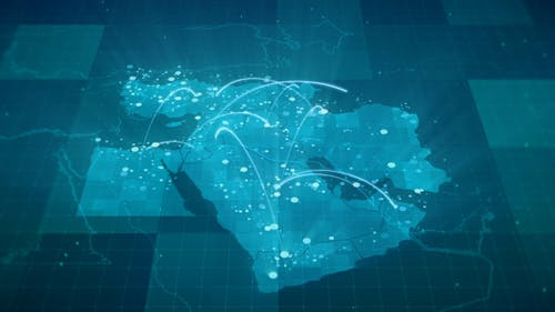 Globalization Middle East Map Animation 4K