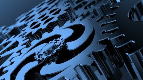 Isolated Rotating Blue Gears