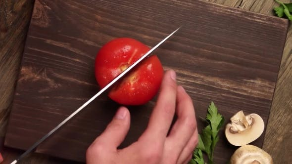 Thumbnail for The Chef Hands Slicing Vegetables by Knife