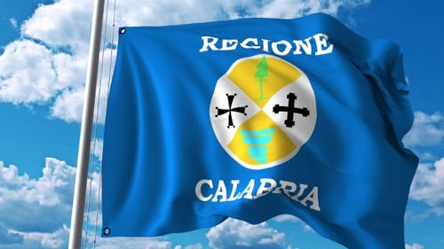 Waving Flag of Calabria a Region of Italy