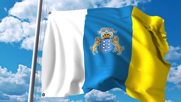 Thumbnail for Waving Flag of Canary Islands an Autonomous Community in Spain