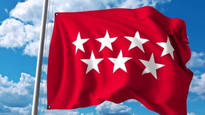 Waving Flag of Community of Madrid One of the Autonomous Communities in Spain