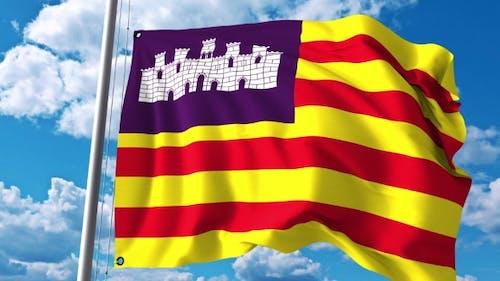Waving Flag of Balearic Islands an Autonomous Community in Spain