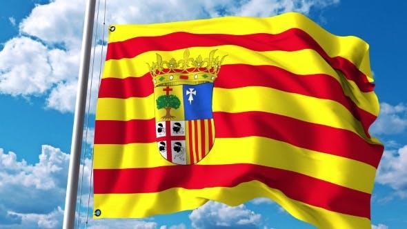 Thumbnail for Waving Flag of Aragon an Autonomous Community in Spain