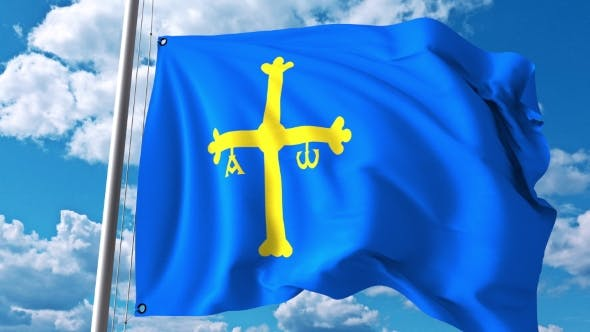Thumbnail for Waving Flag of Asturias an Autonomous Community in Spain