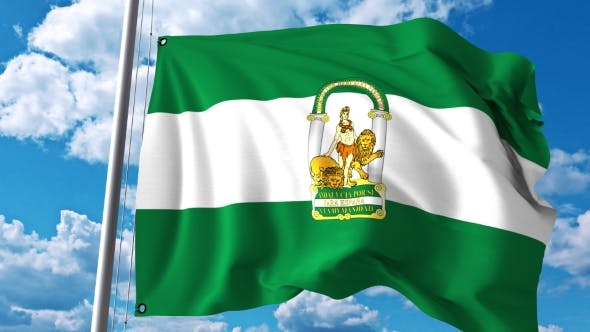 Cover Image for Waving Flag of Andalusia an Autonomous Community in Spain
