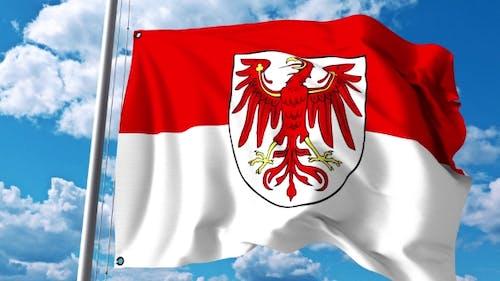 Waving Flag of Brandenburg a State of Germany
