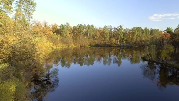 Thumbnail for Flying Over the Lake. Autumn Landscape