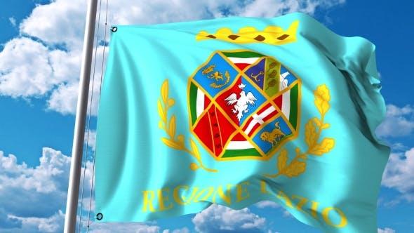 Waving Flag of Lazio a Region of Italy