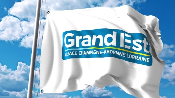 Thumbnail for Waving Flag with Logo of Grand Est a Region of France