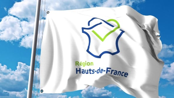 Thumbnail for Waving Flag with Logo of Hauts-de-France a Region of France