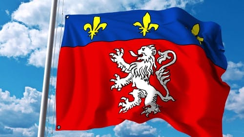 Waving Flag of Lyon a City in France