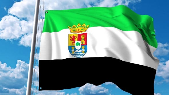 Thumbnail for Waving Flag of Extremadura an Autonomous Community in Spain