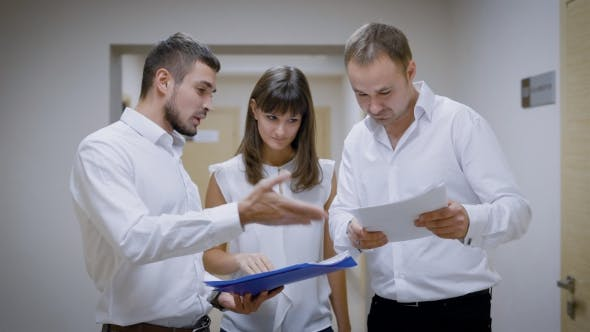 Thumbnail for Office Workers Are Standing in a Corridor of an Agency Building, Holding Folders with Documents
