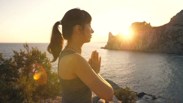 Thumbnail for Meditation of Young Woman at Sunset