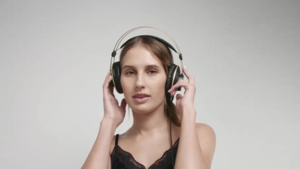 Thumbnail for Hot Girl in Underwear and Overhead Headphones