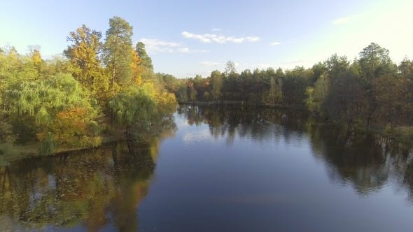 Thumbnail for Flying Over the Lake, Autumn Landscape
