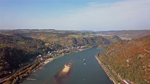 Flight over Rhine Valley near Bacharach Town