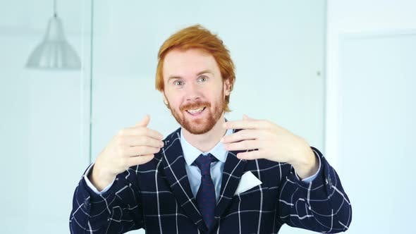Thumbnail for Redhead Businessman Inviting for Job, invitation Gesture