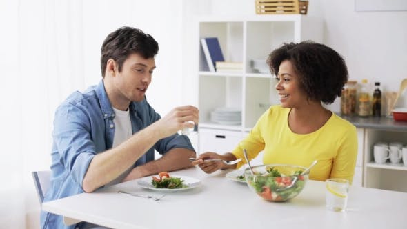 Thumbnail for Happy Couple Eating Vegetable Salad at Home 24