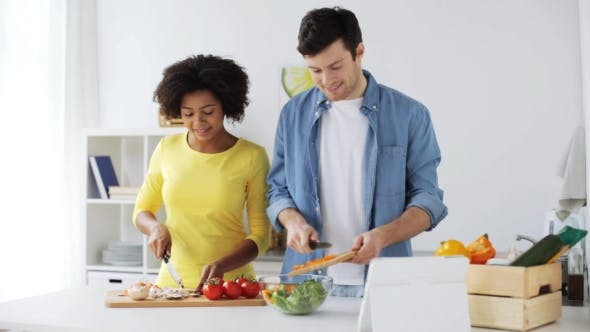 Thumbnail for Happy Couple with Tablet Pc Cooking Food at Home 10